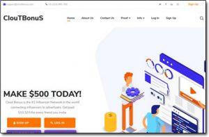 Clout Bonus Website Screenshot