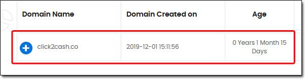 Click2Cash Domain Age
