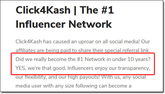 Click4Kash Influencer Network Claim