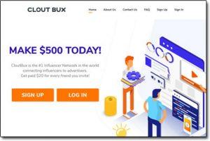 CloutBux Website Screenshot