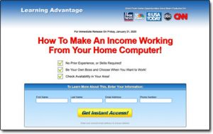 Learning Advantage Work From Home Website Screenshot