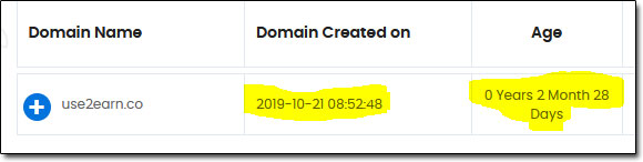 Use2Earn Domain Age