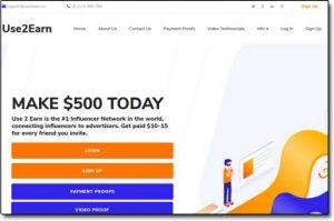 Use2Earn Website Screenshot