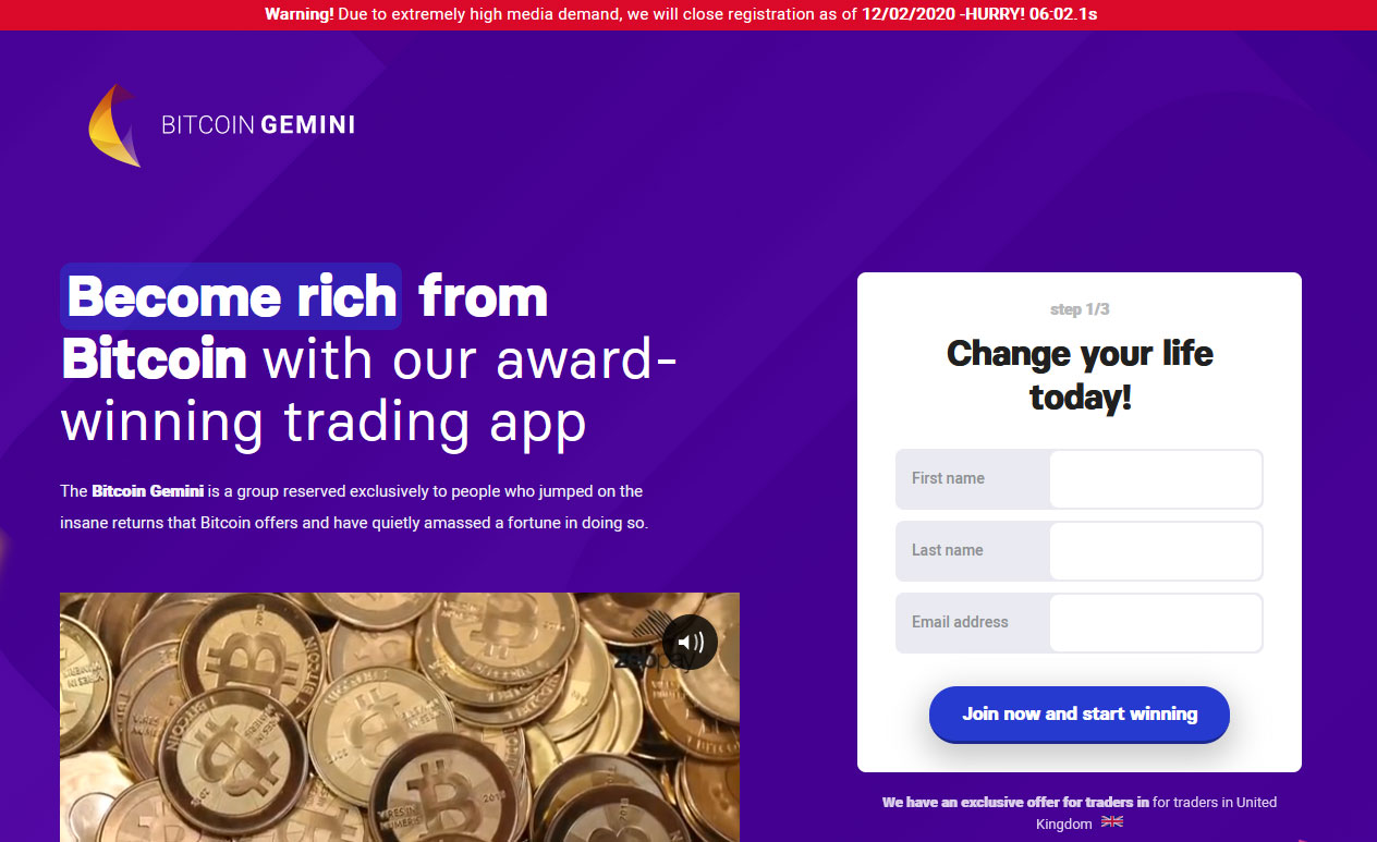Bitcoin Gemini App Website Screenshot