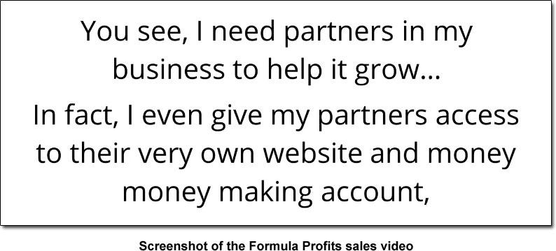 Formula Profits Partners Claim