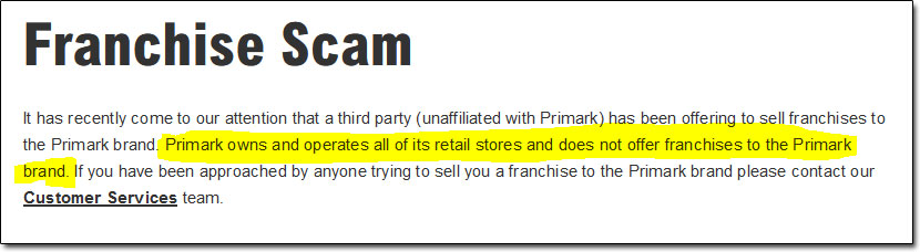 Primark Franchise Scam