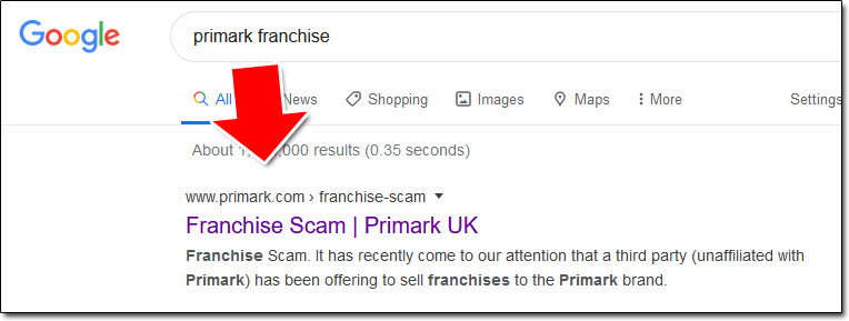 Primark Franchise Search Results