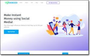 ShowCash Website Screenshot