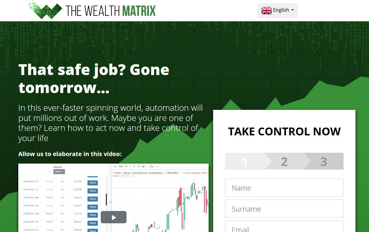 The Wealth Matrix Software Website Screenshot