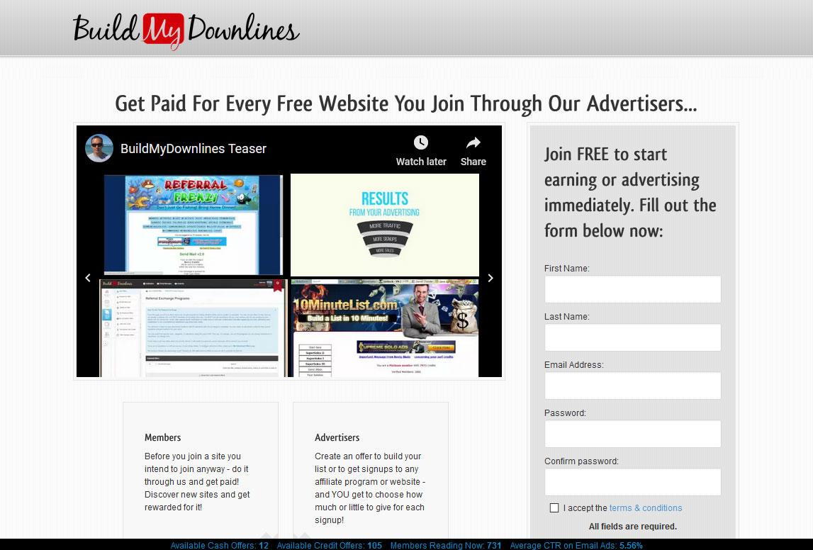 Build My Downlines Website Screenshot