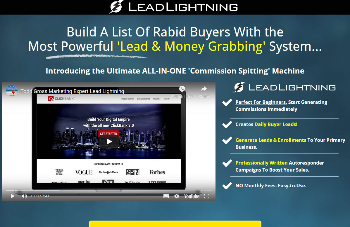 Lead Lightning Website Screenshot