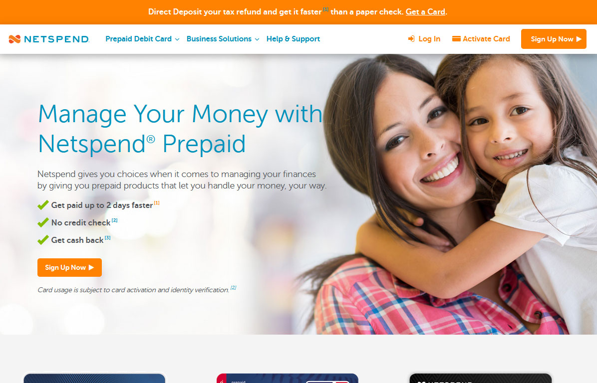 Netspend Website Screenshot