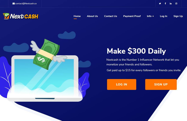 NextCash Website Screenshot