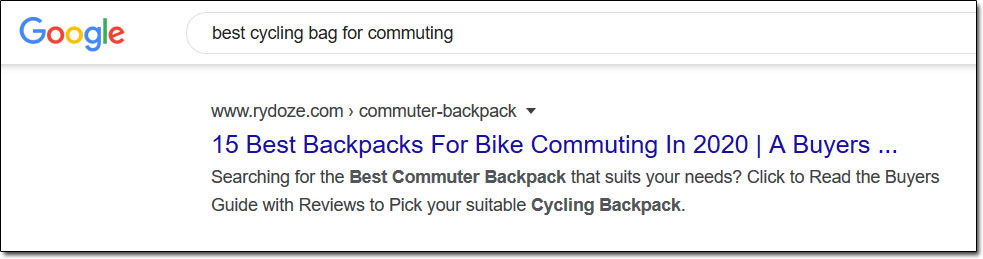 Google Cycling Search Results Example