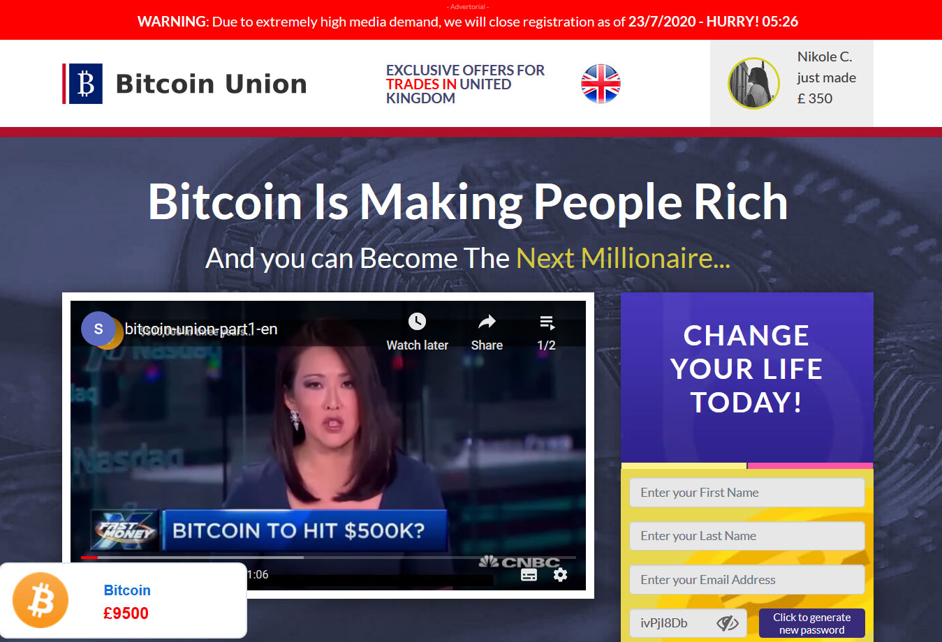 Bitcoin Union Website Screenshot