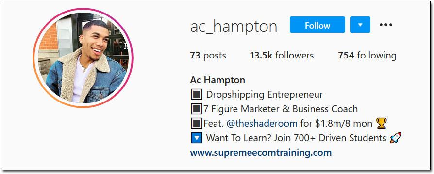 AC Hampton Instagram Profile