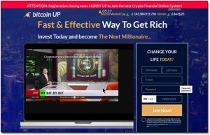 Bitcoin Up App Website Screenshot