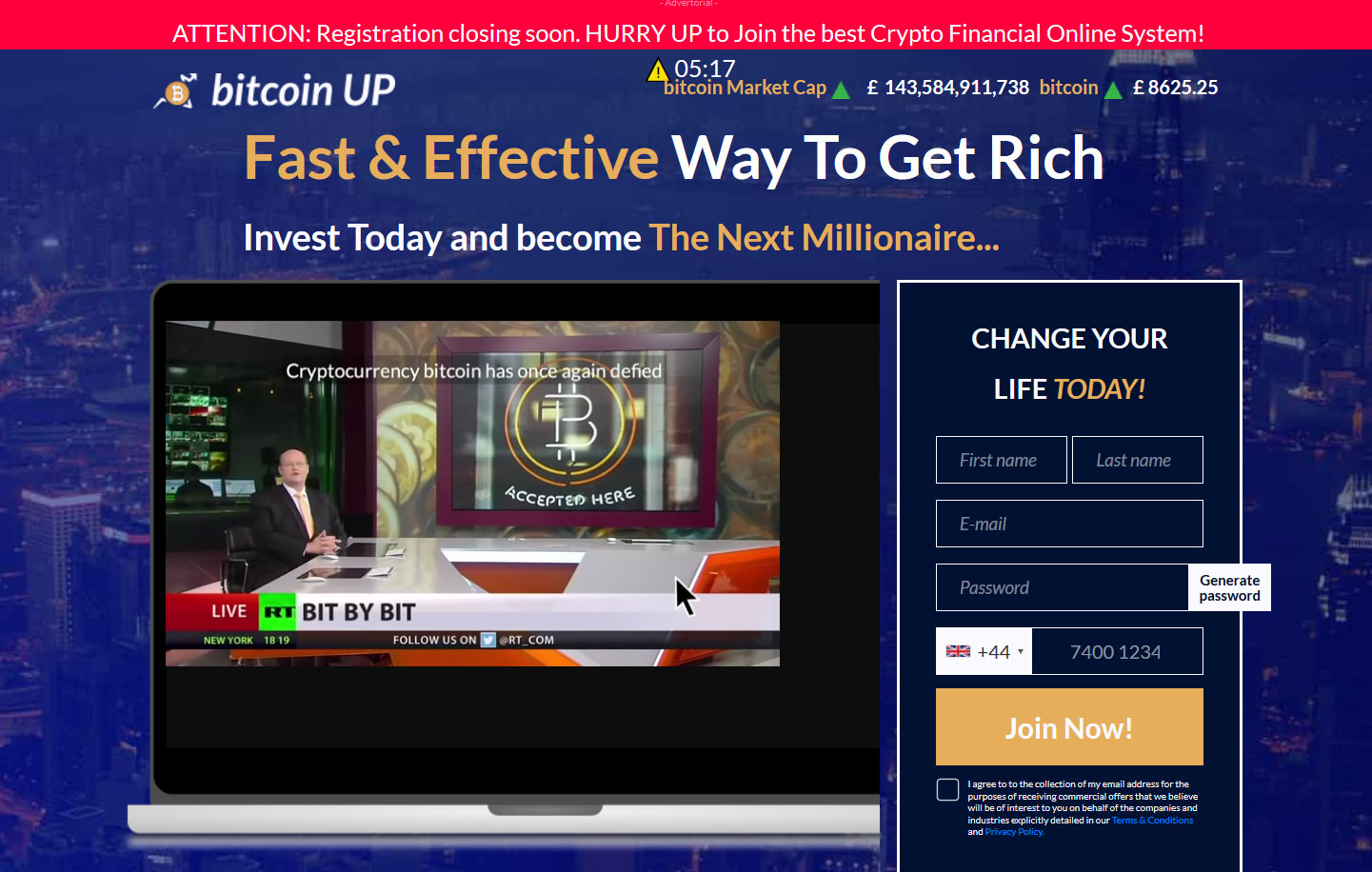 Bitcoin UP App Website Screenshot