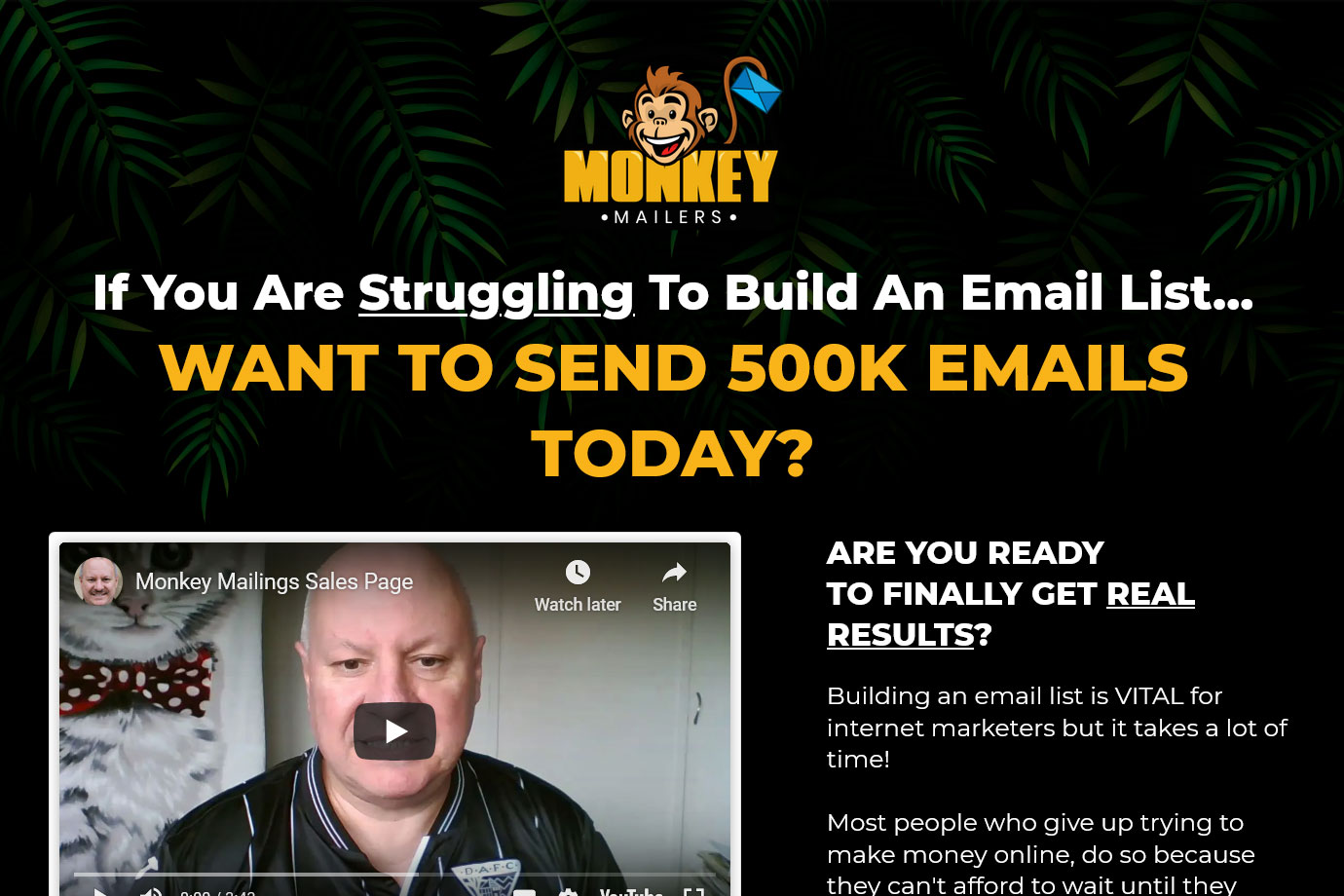Monkey Mailers Website Screenshot