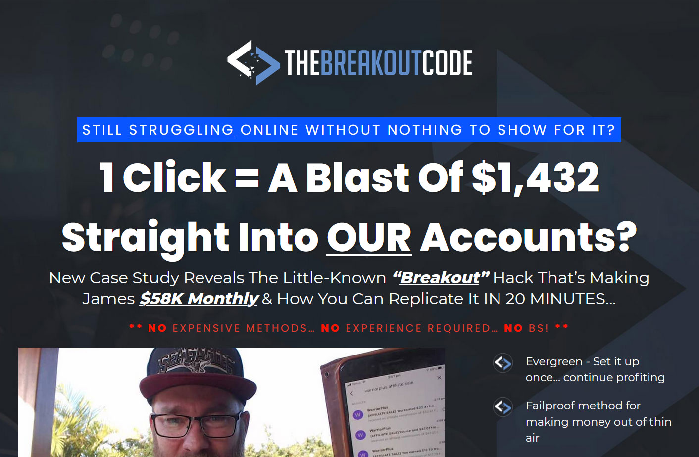 The Breakout Code Website Screenshot
