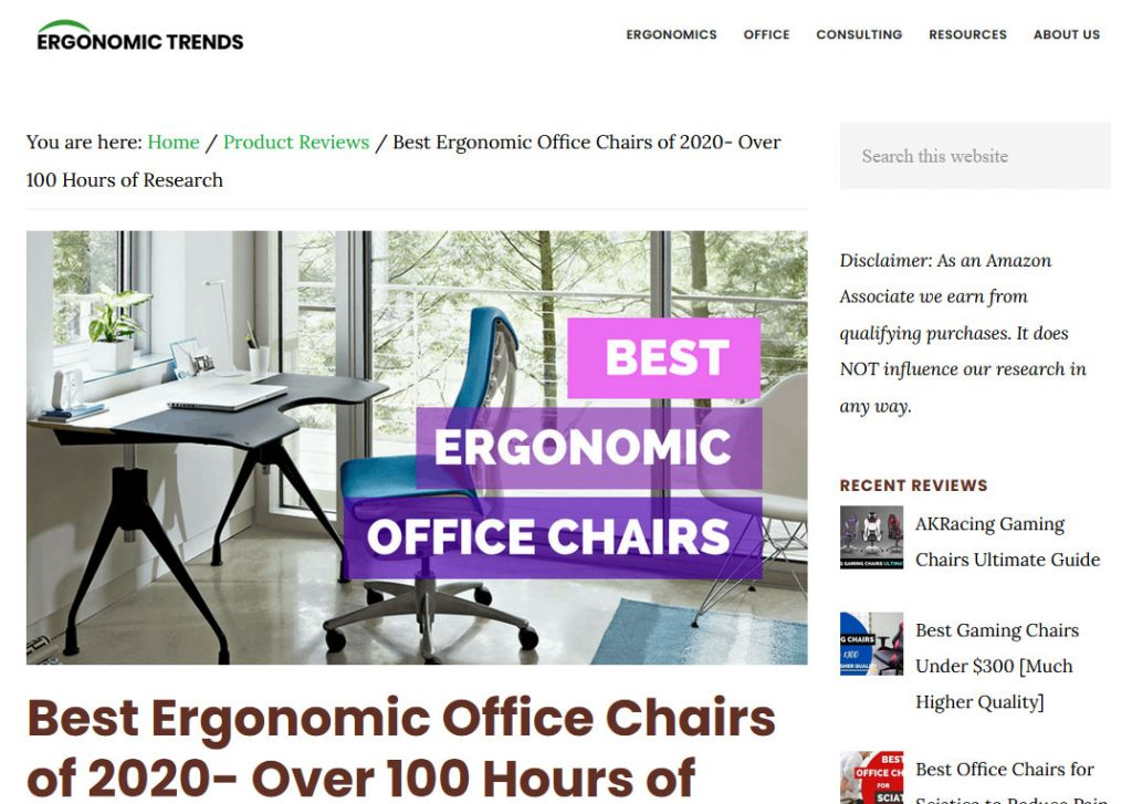 Ergonomic Furniture Niche Website