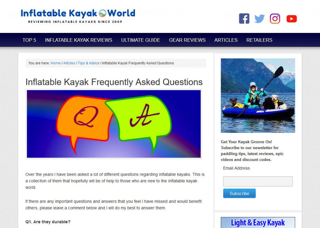Inflatable Kayaks Niche Website