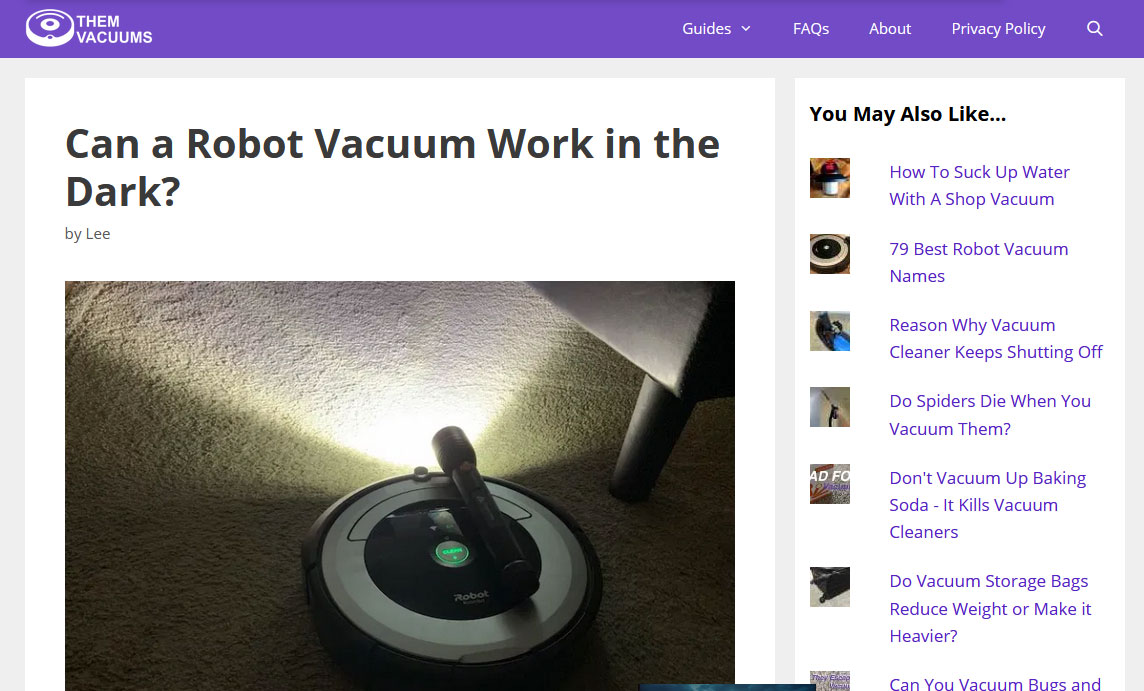 Robot Vacuum Niche Affiliate Website Example