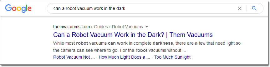 Google Robot Vacuum Search Results