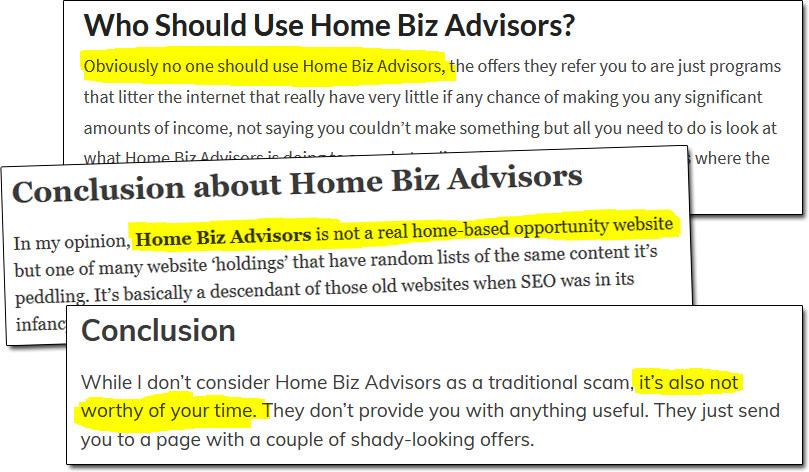 Home Biz Advisors Reviews