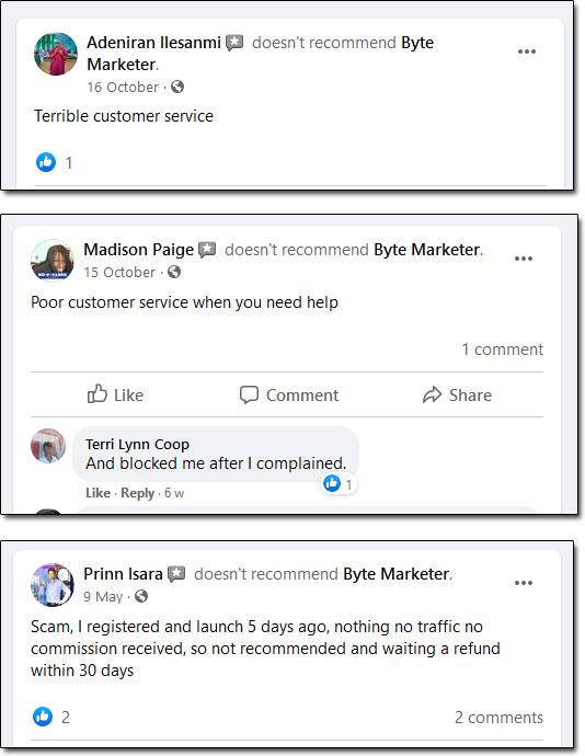 Byte Marketer Complaints