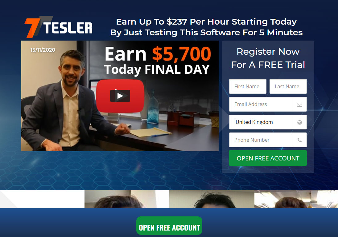 Tesler Trading Website Screenshot