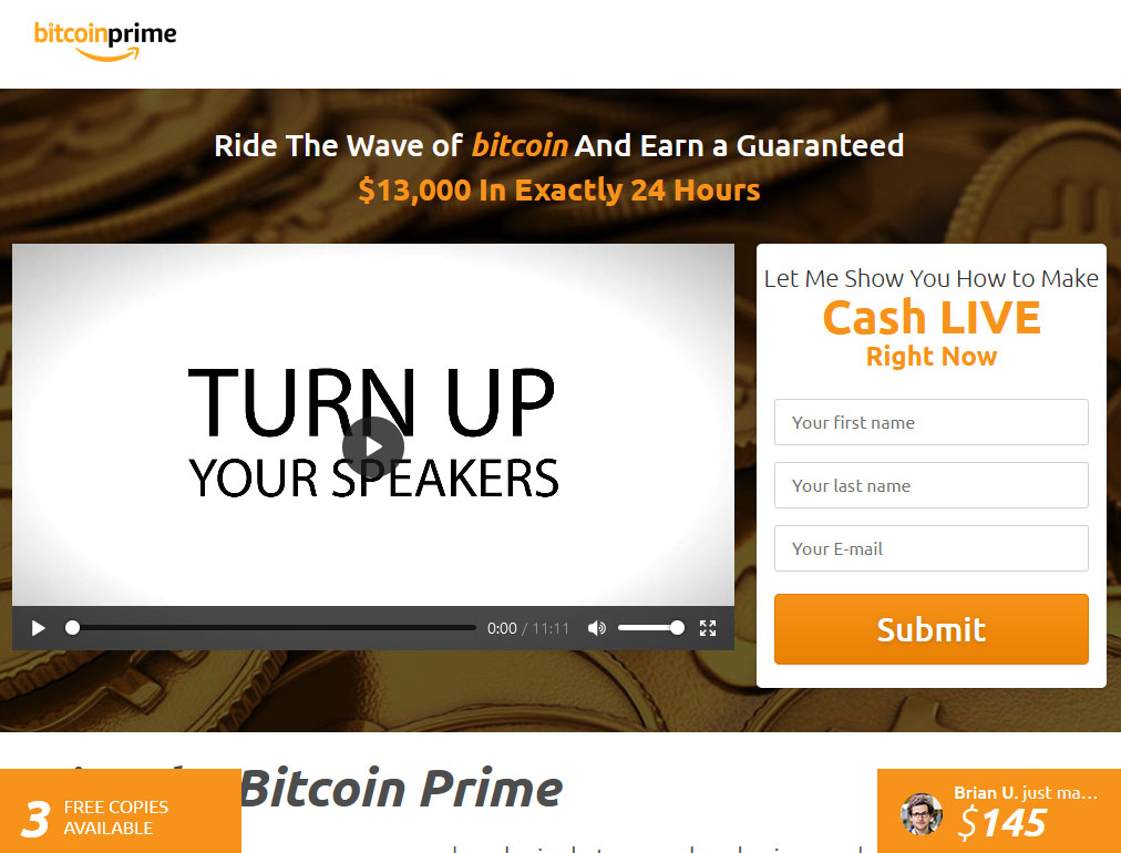 Bitcoin Prime Website Screenshot