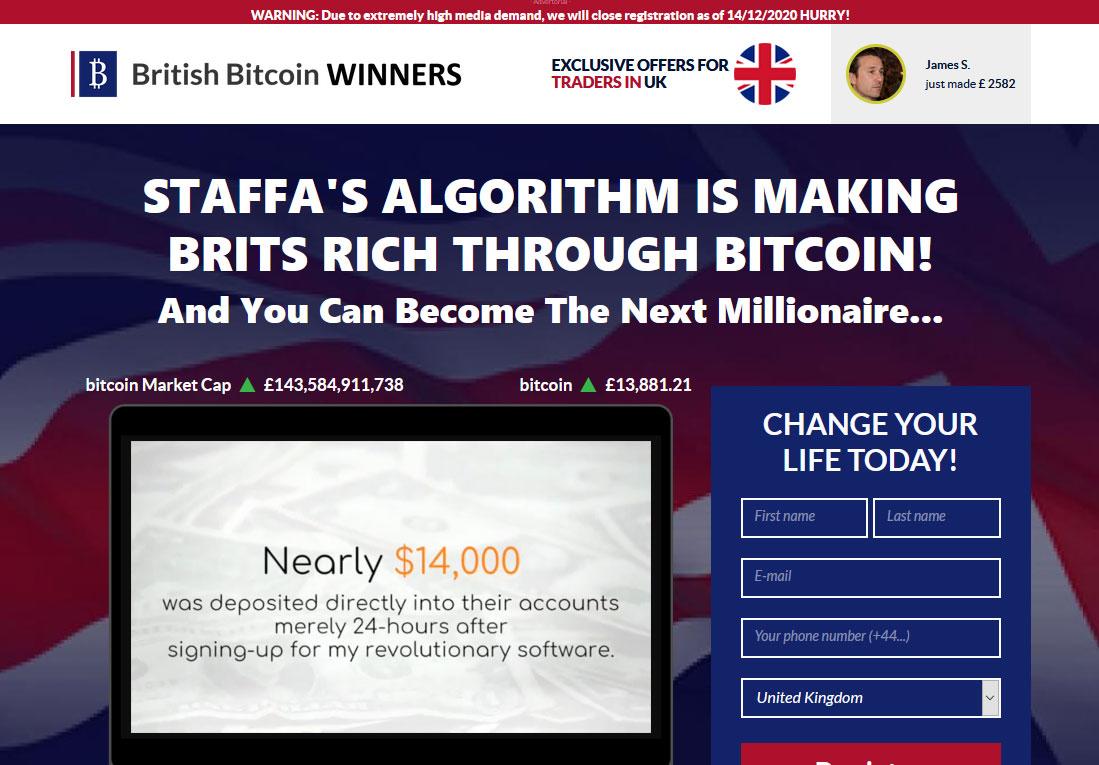 British Bitcoin Winners Website Screenshot