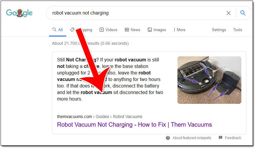 Robot Vacuum Not Charging SERP