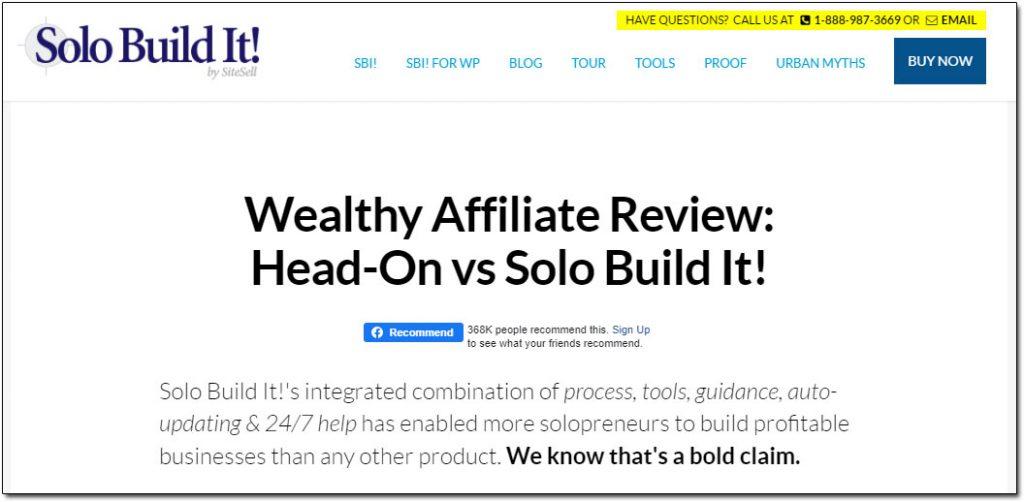 Solo Build It! Wealthy Affiliate Review
