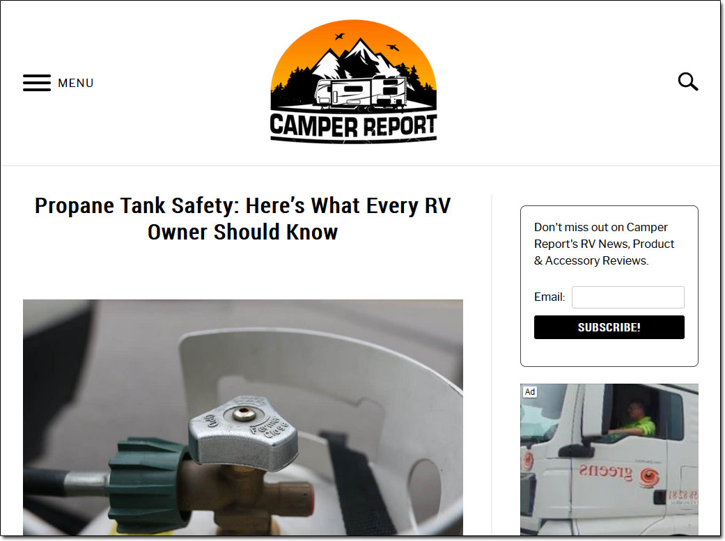 Camper Report Website Screenshot