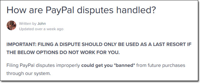 WarriorPlus PayPal Disputes