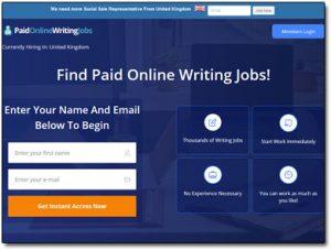 Paid Online Writing Jobs Website Screenshot