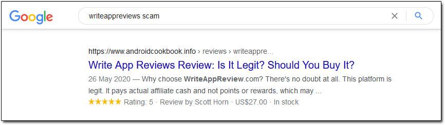 Write App Reviews Scam Result