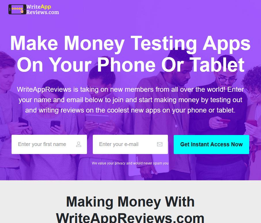 Write App Reviews Website Screenshot