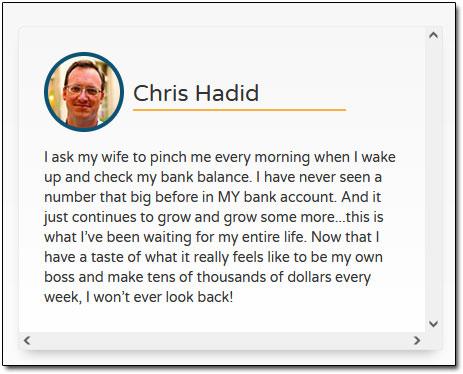Chris Hadid Testimonial
