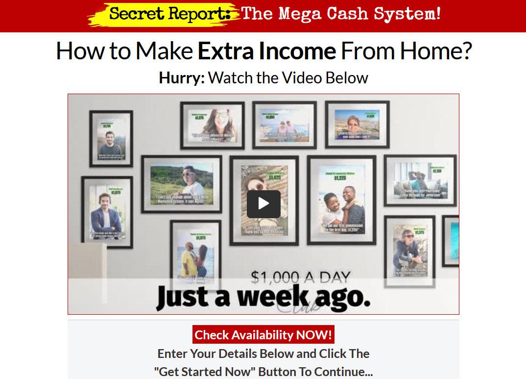 Mega Cash System Website Screenshot